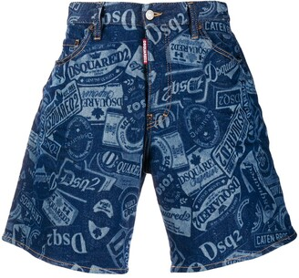 DSQUARED2 Stamped Wide Denim Shorts