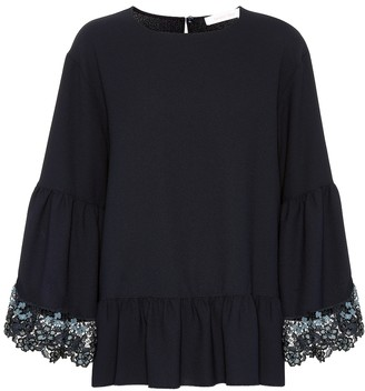 See by Chloe Lace-trimmed bell sleeve top