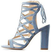 Charlotte Russe Caged Lace-Up Back Sandals