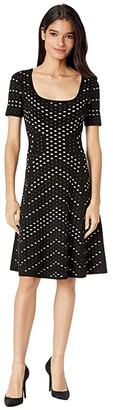 Milly Pointelle Jacquard Flare Dress (Black/White) Women's Clothing