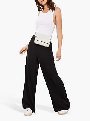 Mint Velvet Wide Utility Trousers, Black