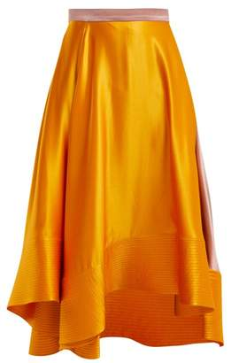 Roksanda Coleta High-rise Silk-satin Midi Skirt - Womens - Orange