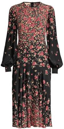 Michael Kors Crushed Drop-Waist Floral Silk Dress