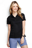 Lands' End Women's Petite Pima Polo Shirt-Jet Black