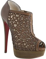 cognac leather 'Pampas 150' laser cut peeptoe booties