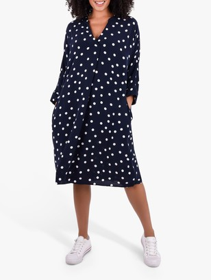 Live Unlimited Curve Polka Dot Cocoon Dress, Navy