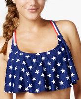California Waves Stars-and-Stripes Flounce Bikini Top