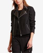 Lauren Ralph Lauren Pinstriped Moto Jacket