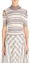 Fendi Cold Shoulder Stripe Silk Blend Sweater
