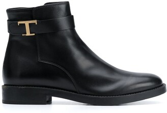 Tod's T-buckle leather ankle boots