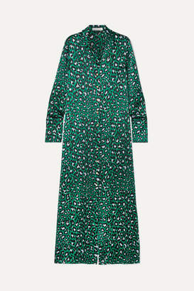 Olivia von Halle Hero Leopard-print Silk-satin Maxi Dress - Emerald