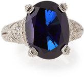Judith Ripka Estate Blue Corundum & Sapphire Cocktail Ring