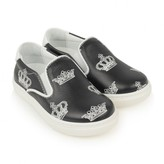 Boys Black Crown Leather Slip On Shoes