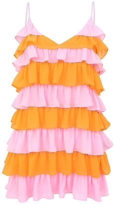 Blonde Gone Rogue Summer Affair Mini Dress In Pink & Orange