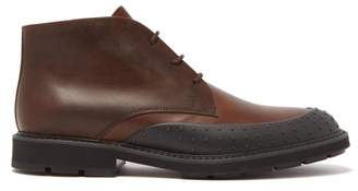 Tod's Rubber-toe Cap Leather Ankle Boots - Mens - Dark Brown