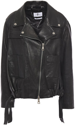 7 For All Mankind Coulisse Gathered Textured-leather Jacket
