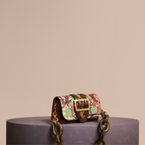 Burberry The Small Buckle Bag in Snakeskin and Floral Print, Green