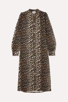 Ganni Leopard-print Denim Dress - Leopard print