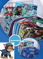 Nickelodeon Paw Patrol Twin Bedding Set with Reversible Comforter, Twin Sheets, and Chase Stuffed Pillowbuddy