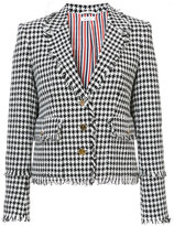 Thom Browne Trompe L'oeil Collar Sport Coat With Fray In Gun Club Check Gimped Yarn Tweed