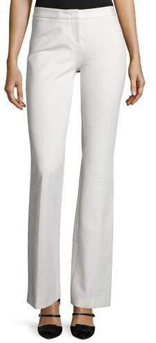 Derek Lam Flat-Front Flared Pants, Ivory