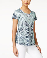 Style&Co. Style & Co. Printed Studded T-Shirt, Only at Macy's