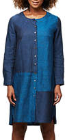 East Linen Dye Colour Block Dress, Indigo