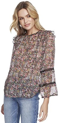 1 STATE Long Sleeve Forest Gardens Lace Inset Blouse (Rich Black Multi) Women's Clothing