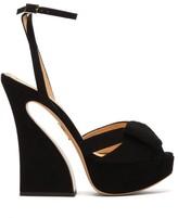 Charlotte Olympia Curved Heel Suede Platform Sandals - Womens - Black