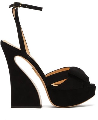 Charlotte Olympia Curved Heel Suede Platform Sandals - Black