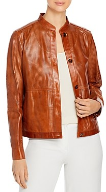 Lafayette 148 New York Becker Perforated Leather Bomber Jacket