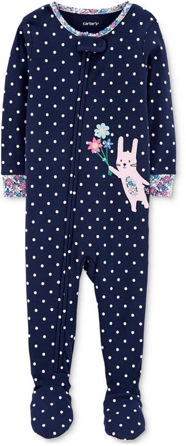 Carter's Carter Baby Girls Bunny Rabbit Cotton Footed Pajamas