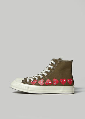 Comme des Garcons Women's Play Converse High Chuck Taylor Multi Heart Sneaker in Khaki Size 8 Textile/Rubber