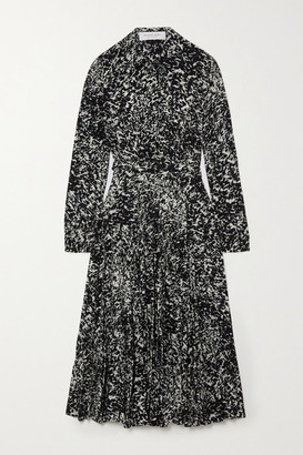 Michael Kors Collection Belted Printed Silk Crepe De Chine Midi Shirt Dress - Black