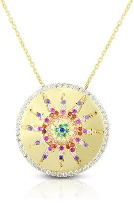 Sphera Milano 14K Yellow Gold Plated Sterling Silver Pave Rainbow CZ Medallion Pendant Necklace