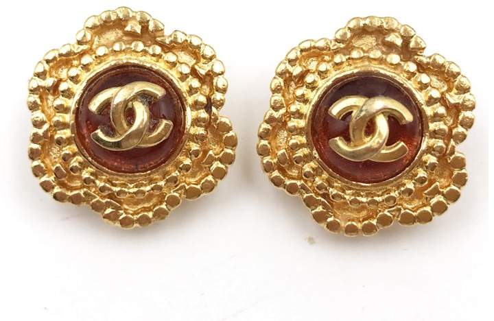 Chanel Gold Plated Orange Gripoix Clip On Earrings