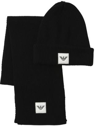 Emporio Armani Wool Blend Knit Hat & Scarf Set
