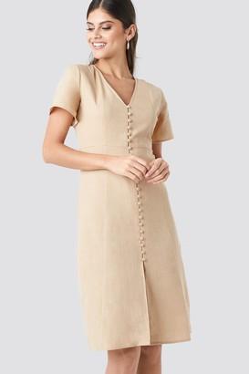 NA-KD Button Front Linen-blend Dress