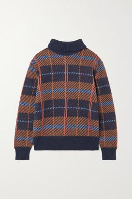 Dries Van Noten Maldives Checked Alpaca-blend Sweater - Navy