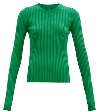 MM6 MAISON MARGIELA Long-sleeved Ribbed-knit Jersey Top - Green
