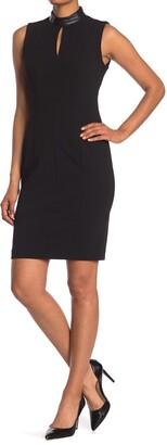 Calvin Klein Mock Neck Split Sheath Dress