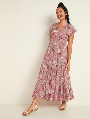 Old Navy Waist-Defined Printed Tiered-Hem Maxi Dress for Women