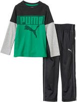 Puma Boys 4-7 Colorblocked Mock-Layer Tee & Pants Set