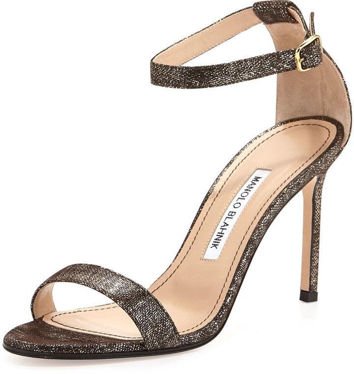 Manolo Blahnik Chaos Metallic Suede Sandal, Brown