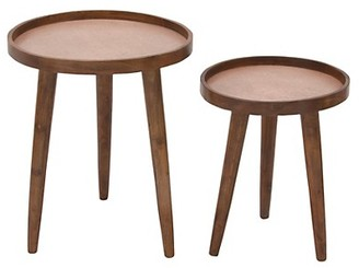 Uma Set of Two Contemporary Wood and Iron Side Tables