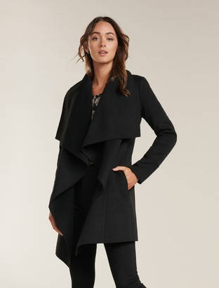 Forever New Willow Wrap Coat - Black - 4