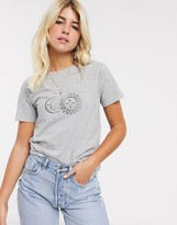 New Look sun and moon celestial tee in gray
