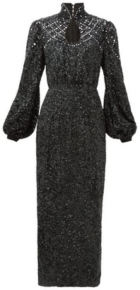 Saloni Domino High-neck Balloon-sleeve Sequinned Dress - Black