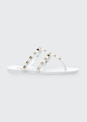 Valentino Rockstud T-Strap Flat Slide Sandals