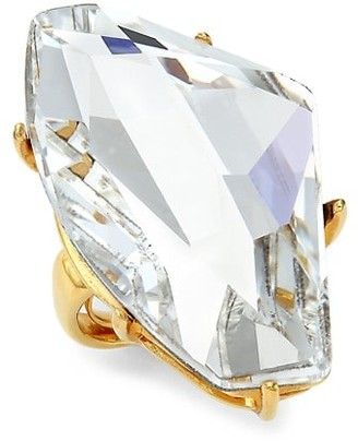 Kenneth Jay Lane Goldplated & Asymmetrical Crystal Statement Ring